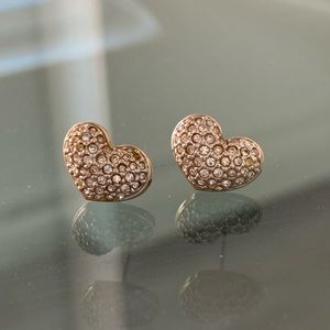 SIGNED SWAROVSKI PUFFY HEART EARRINGS